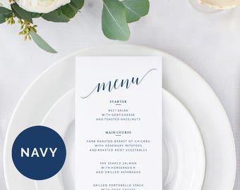 Navy Wedding Menus Template | Printable Wedding Menus | Editable Wedding Menu Printable | DIY Wedding Menu Printable | Menu Wedding Template