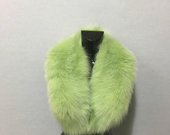 Luxury Light Green Color Fox Fur Collar