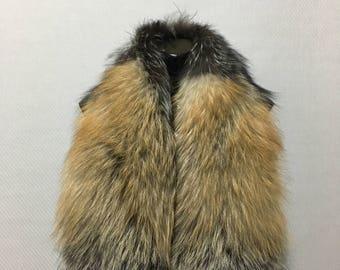 Gorgeous Beautiful Real Natural Golden-Silver-Black Fox Fur Big Collar- Scarf