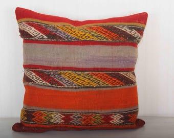 kilim pillow 20x20, turkish pillow, bohemian pillow, mauve pillow, pillow covers 20x20, red throw pillow, striped pillow KP10057