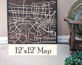 New Orleans Map, Large Wood Map, New Orleans Wall Art, New Orleans Wood Map, Custom Gift, Personalized Map, Custom City Map by Novel Maps