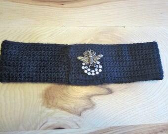 Black Crochet Headband with BEE Jeweled!  , Winter Wear, Women & Teens, Great Gifts Ideas! One Left!