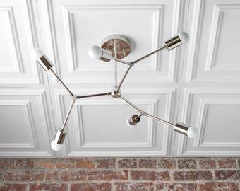 Geometric Metal Lamp - Chrome Nickel Chandelier - Silver Chandeliers - Ceiling Light Chrome - Industrial Chandelier
