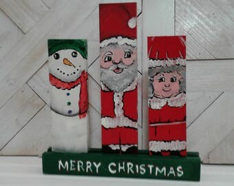 Christmas Decorations, Painted Wood Christmas Decorations, Santa, Mrs. Clause, Snowman,  Handmade, Hand Painted, Cute, Finished Wood Craft