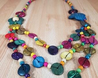 Necklace - Wood Necklace - Vintage Necklace - Retro Necklace - Colorful Beads - Fabulous.
