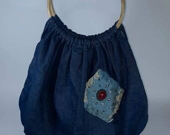 Bag made of cloth - Bag with purse - Handbag with wooden handle - Blue bag -