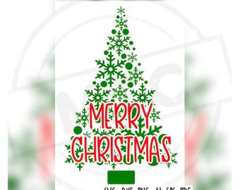Merry Christmas Tree Cricut, Silhouette, Brother Cut File / Digital Download *SVG DXF PNG*