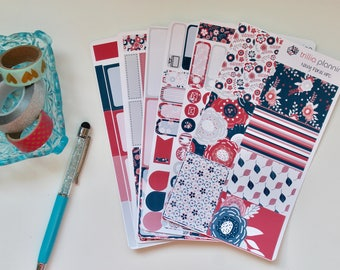 Navy Floral - Classic Happy Planner Weekly Kit