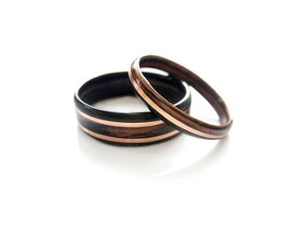 wood wedding rings set in macassar ebony with copper inlay ring ebony couple rings wooden rings - Wood Wedding Ring