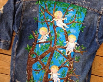 Hand painted denim jacket with cute angels (! Please read the description !)