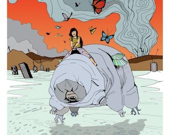 The Princess and the Tardigrade - Illustration Art Print, Digital Print, Drawing, Fantasy Art, Sci Fi
