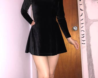 Black velvet fit and flare, mini dress, vintage dress, black velvet, short dress