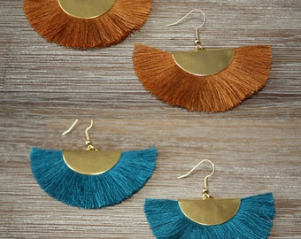 Half moons gold tassels and studs