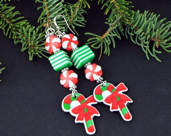 Candy Cane Earrings Perfect Holiday Dangle Earrings Tacky Yet Cute
