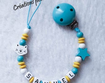 """Wooden beads """"Cat"""" boy personalized pacifier clip"""