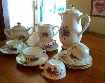 Pretty Floral Tea or Coffee Set - French vintage Digoin Sarreguemines