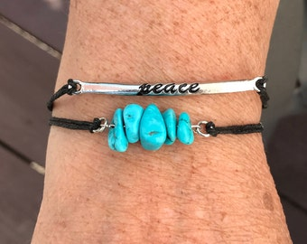 Adjustable Turquoise and Peace Bracelet