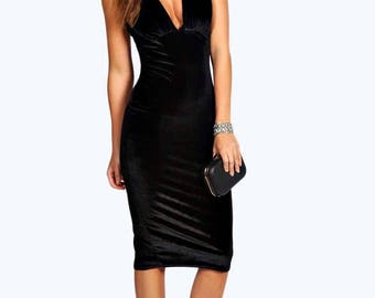 Plunge Bodice Pleated Detail Bodycon Dress - Velvet Feel  Strap Shoulder Bodycon Dress