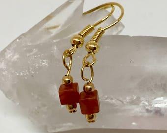 Carnelian earrings, carnelian jewelry, dark orange earrings, orange stone earrings, cube earrings, petite earrings, sweet 16