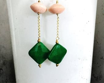 Long pendants earrings Made of green agate stones and pink sponge coral stones
