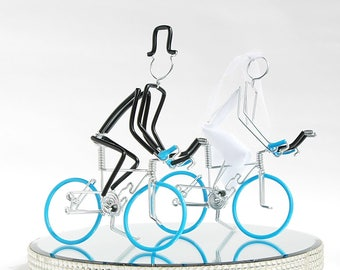 Wedding Cake Topper, Triathlon Bike Wedding Cake Topper, Handmade, Bicycle Cake Toppers, Mr and Mrs Triathlon Bikes with Light Blue Wheels.