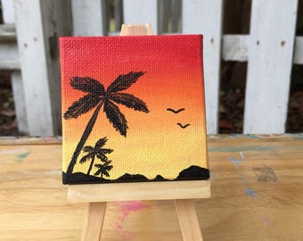 Sunset in Key Largo | beach painting | acrylic miniature canvas | by Jeni Hudson