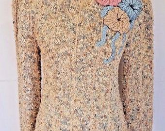 Vintage Womens Crochet Sweater Beige Pink Blue Medium 80s