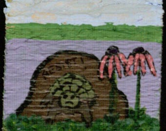 Two Sided Small Block - Turtle and Rock with 'Resist' Grafitti/Foxglove