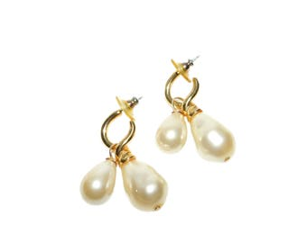 Vintage Signed CAROLEE Double Faux Pearl Dangle Earrings