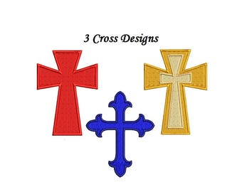 Cross Embroidery Design - 3 designs 3 sizes each instant download