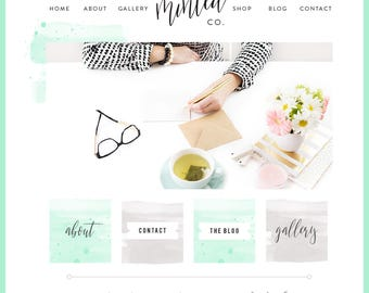 Watercolor Squarespace Template / Logo & Branding Kit / Blog Kit / Mint Turquoise/ Website Design / Wordpress theme / Photography Site