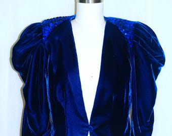 Velvet Blue Vintage Cropped Jacket