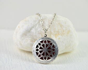 Aromatherapy Diffuser Essential Oils Necklace, Lava Diffuser Necklace, Diffuser Jewellery, Silver Necklace, Oil Diffuser Pendant Necklace