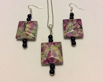 Dangle Earrings and Pendant Set