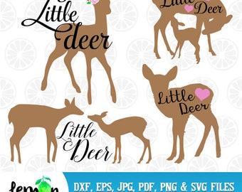 Little Deer SVG, Baby Deer, Baby Girl, Mother Deer with little bambi,Instant Download 44