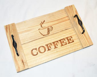 Engraved Serving Tray- Coffee.   Butler's Serving Tray   Gift   Wedding   Housewarming   Shower   Pallet Wood   Laser  