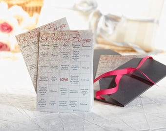 Wedding Bingo: 10-Card Printed Set with Gold Stickers for Marking Squares (Bride/Groom)