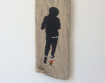 Acrylic painting on driftwood contemporary youth 'Hoody'
