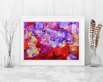 Modern Abstract Painting, Red Purple painting, Wall Art, Ink, Giclee Print, Home Decor