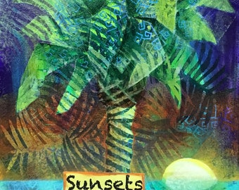 PALM SUNSET, 9x12 on board PS1