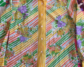 Vintage Floral Striped Yellow Green Orange Purple Big Collar Long Sleeve Button Up Blouse Alex Colman