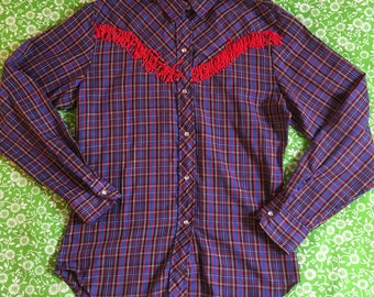 Vintage Plaid Fringe Yoke Pearl Snap Long Sleeve Western Shirt Cowgirl Rodeo Square Dancing Red Blue