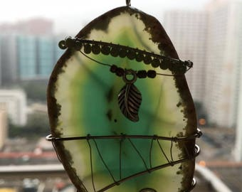 Wire Wrapped Green Agate Hanging