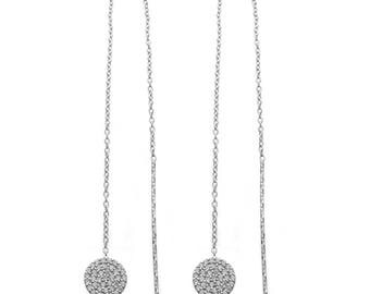 Silver Chain Drop Threader Earring - Round Pave Setting with CZ