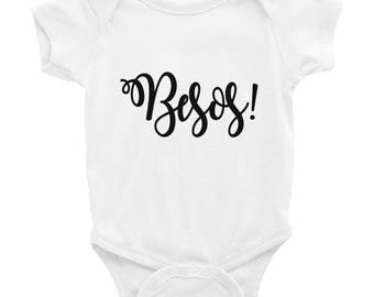 Besos Kisses Spanish Baby Infant Bodysuit NB-24mos / Valentine's Day Onesie Tee for Babies and Infants / First Valentine's Day Outfit