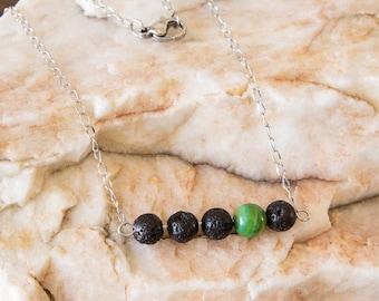 Lava Bead Essential Oil Diffuser Necklace and Bracelet- Aromatherapy Oil Diffuser Necklace - Bar Necklace - Green Accent Bead - Non tarnish