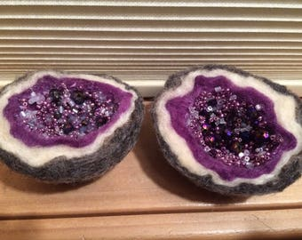 Needle felted geodes