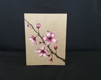 Postcard/ Cherry blossom Postcard /Hand painted Postcard/ New Year Postcard