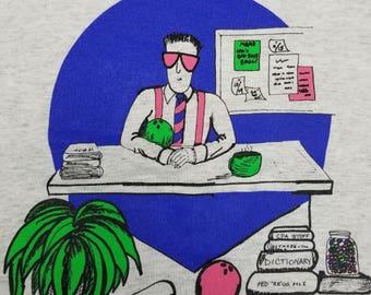 Vintage 90s 1991 Neon Vaporwave Business Man CPA Denver T shirt Size L Poly Cotton 50/50