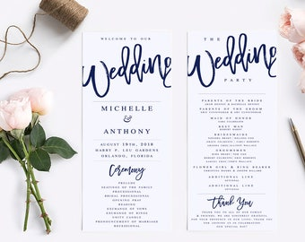 Wedding program template printable wedding program rustic navy wedding program template modern wedding program template rustic wedding program wedding program printable wedding ceremony pronofoot35fo Image collections